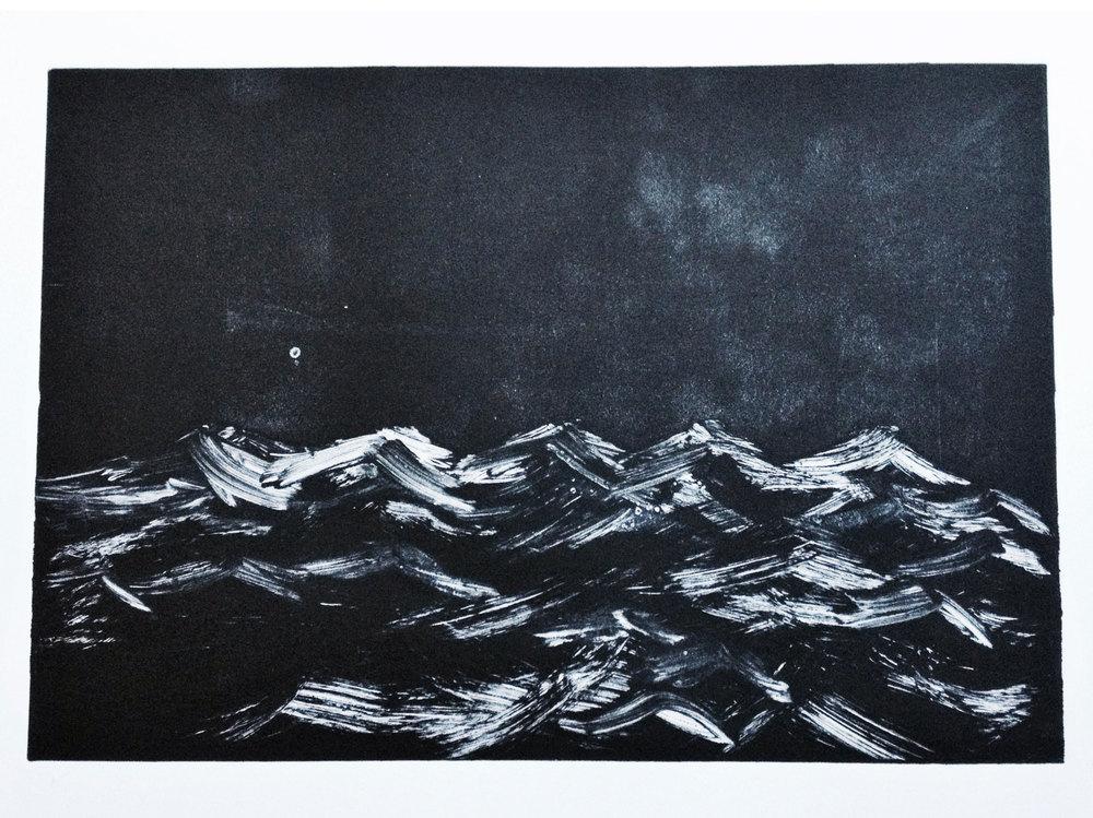 In the night ~ monoprint ~ 2016 43cm x 30 cm