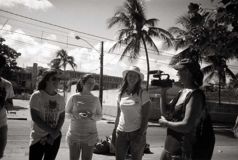 Rachel and Simone chat with students from the local universities environmentalist group just before a days beach-cleaning in Olinda, Brazil, November 2015