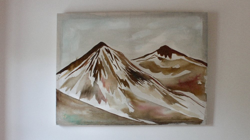 """""""In the Mountains""""  ink, cotton + emulsion  75cm x 100cm  £450"""