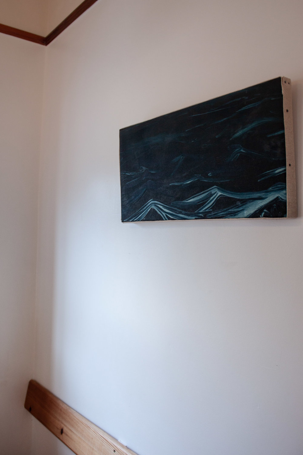 - This untitled painting, completed January 2019 is now for sale. Made following an Atlantic crossing in November 2018, it seeks to emulate the dark rolling hills of Atlantic swell.In this Canvas I wanted to create a window into a moment in time. The moonlit waves could really be in any time or place, for me they are emotive of a very specific nano second in time.I rarely work in oil. I don't like the smell of mineral spirits or Linseed oil. Somehow this elevates their vibrance + density when I do treat myself.In these more recent paintings I am attempting to further explore painting as a craft. Transferring skills such as wood working and upholstery from my work on the interior of sailing boats. Crafting pieces which sit between traditional painting and interior design. These paintings are designed to be lived with, to accent a space + provide a portal to another time and place.