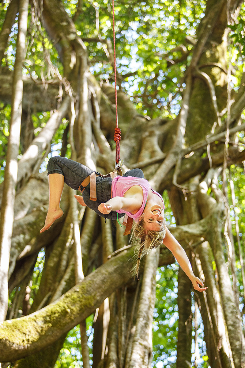 "TREE CLIMBING ~   $65 per person    Scale the largest original jungle gym. You are top roped while climbing an enormous, user-friendly Strangler Fig, roughly 70 feet to a viewing roost 450 feet over the Golfo Dulce. Level of difficulty determined by the ""root"" you select (pun intended).    After exploring the lofty perch and view of the ocean, an exhilarating freefall/swing brings you safely back to the Earth. Ages 6+. Hiking boots/Tevas/Sneakers. Bring camera and binoculars.     Approx. 2-3 hours / Ages 6+"