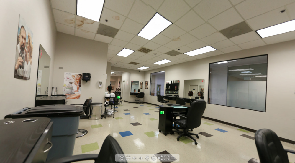 COSMETOLOGY TRAINING SALON WITH WASH STATIONS: 3 Room 360 Degree Tour With Active Hotspots (Career Point College)