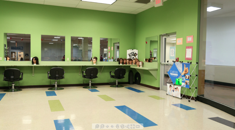 COSMETOLOGY HAIR DRESSING SALON TRAINING ROOM: 1 Room Full 360 Degree Tour With Active Hotspots (Career Point College)