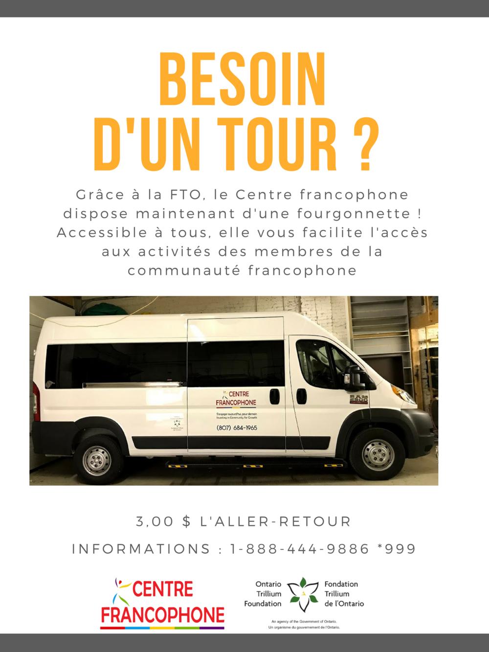 Grâce à la subvention de la Fondation Trillium de l'Ontario, le Centre francophone a fait l'achat d'une fourgonnette !.png