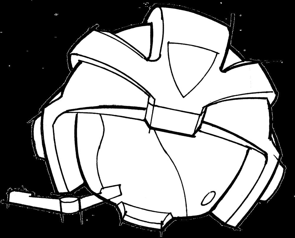 European style fire helmet concept sketch.