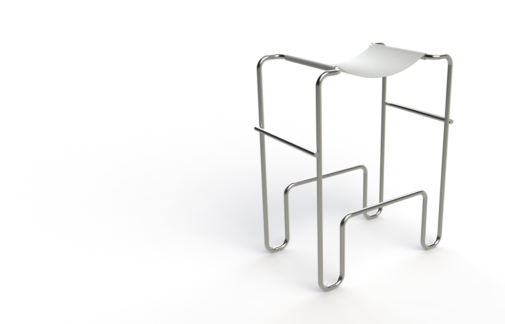 Stool concept inspired by Marcel Breuer's Wassily Chair.