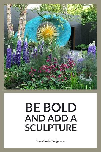 Huge Aeon Sculpture in David Harber/Savills Garden.. Designer: Nic Howard. Image : Loraine Young/Verve Garden Design.