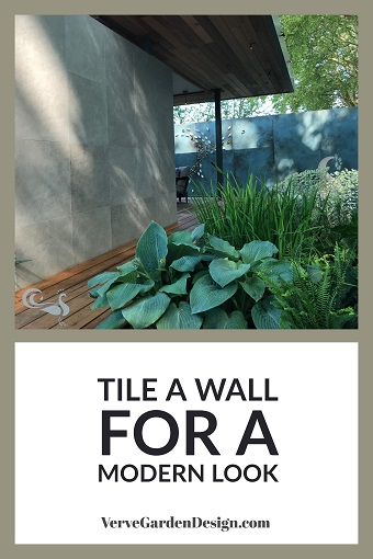 Modern Garden Wall Tiles in the Morgan Stanley Garden for NSPCC. Designer: Chris Beardshaw. Image: Lorraine Young/Verve Garden Design.