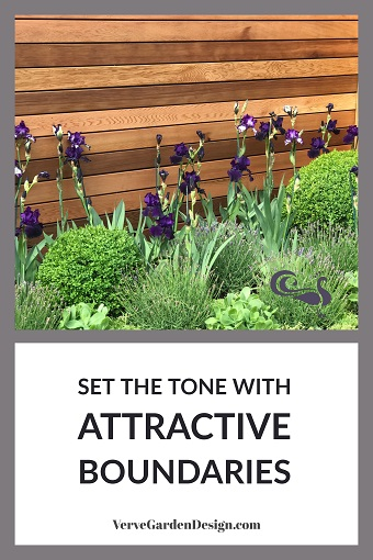 Cedar Garden Fence With Horizontal Slats. Designer: Jo McCreadie for Marshalls Paving. Image: Lorraine Young/Verve Garden Design