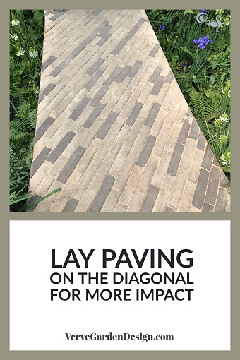 Contemporary Pavers Laid Diagonally in RHS Feel Good Garden. Designer: Matt Keightley. Image: Lorraine Young/Verve Garden Design.