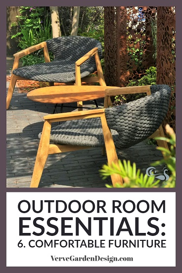 Outdoor rooms need comfy, sturdy garden furniture. Garden Designer: Tony Woods.   Image: Verve Garden Design