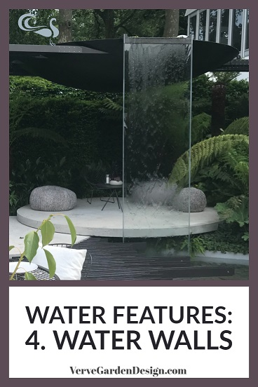 Perspex water wall cleverly divides space in this modern small garden. Designer: Stuart Charles Towner. Image: Lorraine Young/Verve Garden Design.