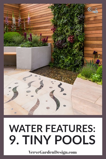 Shallow, pebble-filled pool in modern small garden design. Designer: Jo McCreadie for Marshalls Paving. Image: Chris Denning/Verve Garden Design.