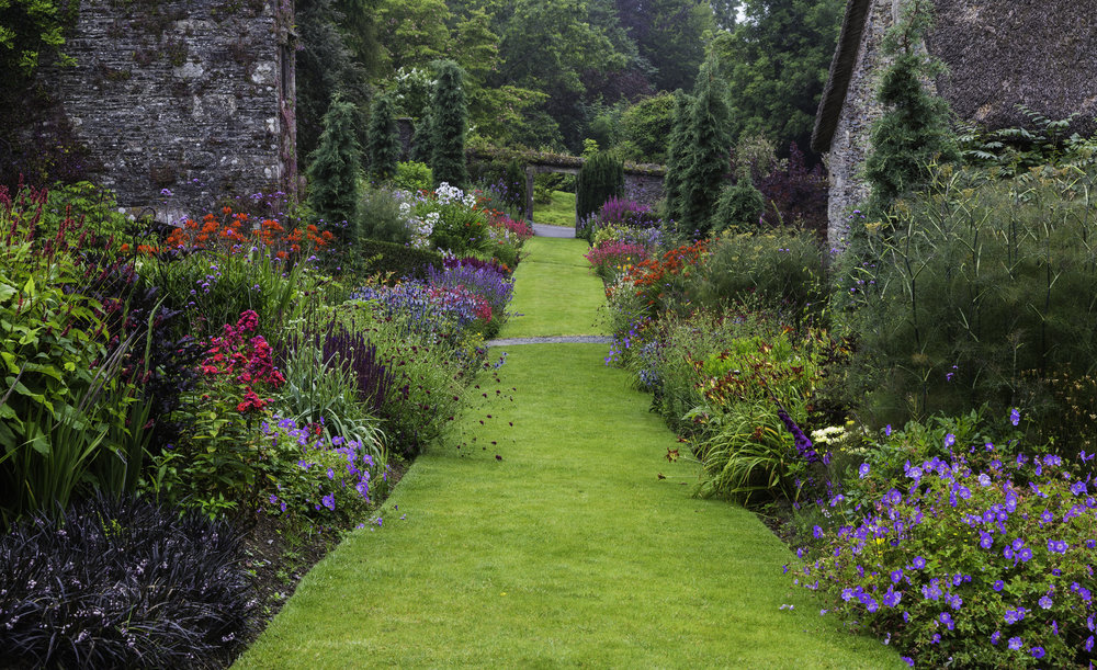 Blocks of repeated strong colours at the front of the border lead the eye deep into this garden and to the view beyond at The Garden House. mage  Chris Denning/Verve Garden Design.