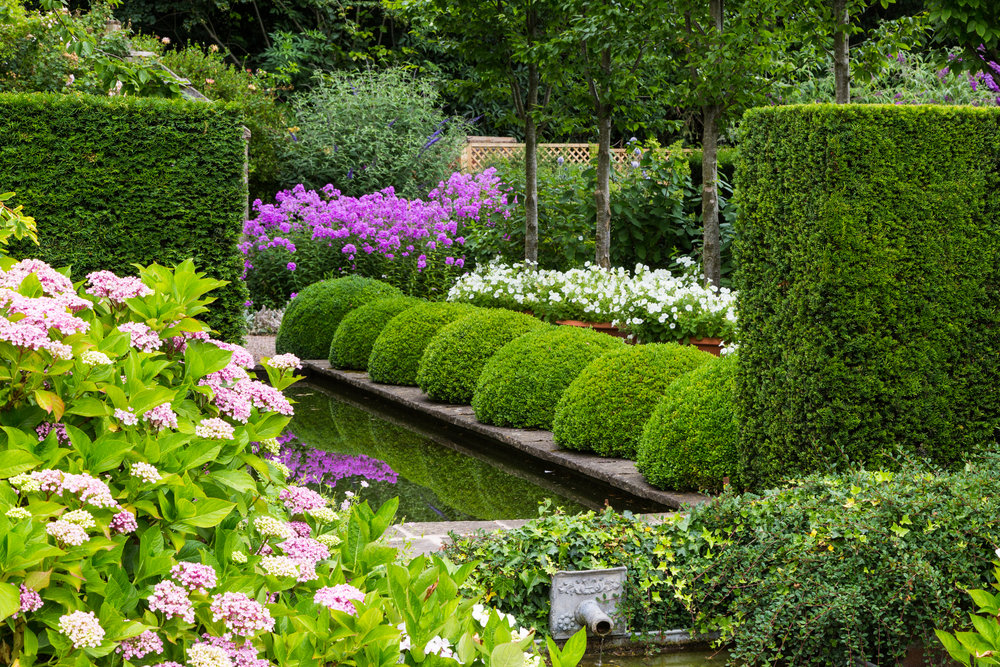 Repeated plant shapes used to great effect in this formal garden at Wollerton Old Hall.  Image: Chris Denning/ Verve Garden Design