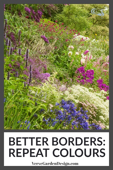 Contrasting shades of deep pink/purple and white/pale pink provide the repetition in this border at Wollerton Old Hall. Image: Chris Denning/Verve Garden Design.