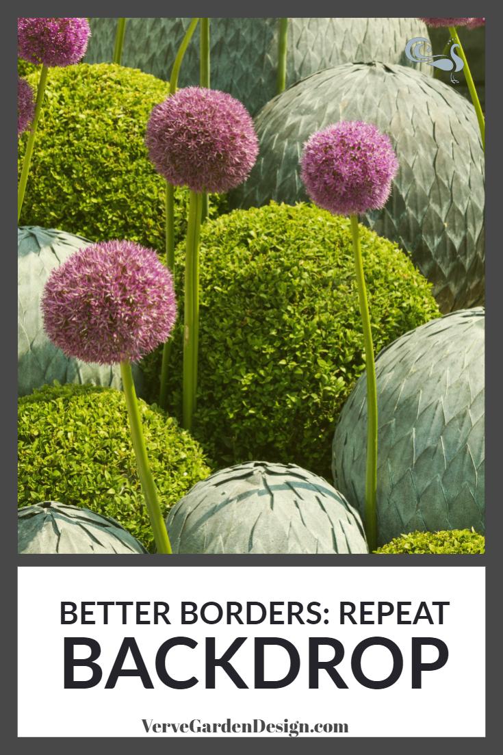 Sculptural artichoke balls (from A Place in the Garden) woven through a simple border of Alliums and Buxus balls act as a whimsical backdrop. Image: Lorraine Young/Verve Garden Design.