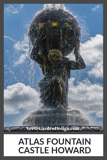 Atlas holding up the bronze sky. The Atlas Fountain,Castle Howard.  Image: Chris Denning/Verve Garden Design.