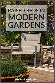 Raised beds in Modern Garden. Designer: David Neale. Image: Chris Denning/Verve Garden Design