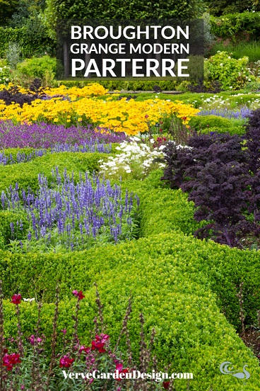 Modern Parterre planted with annuals at Broughton Grange. Design: Tom Stuart-Smith/ Andrew Woodall. Image: Chris Denning/ Verve Garden Design.