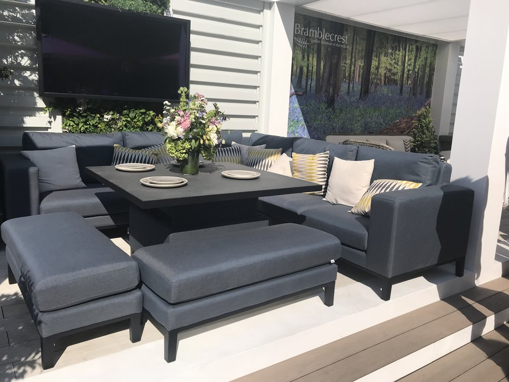 Indigo Range Outdoor Fabric Patio Furniture From Bramblecrest. Image: Lorraine Young/ Verve Garden Design