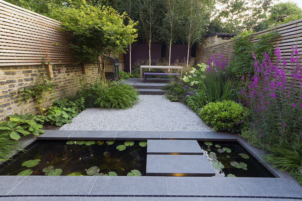 Flamed Black Basalt paving from CED Natural Stone. Designer and Image: John Davies.