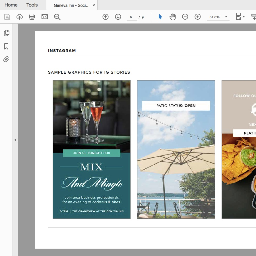 THE BRAND BOOK   Once the Brand Strategy process was completed, The Geneva Inn received their final Brand Book that outlined their Brand Strategy + a basic style guide for their updated marketing assets.