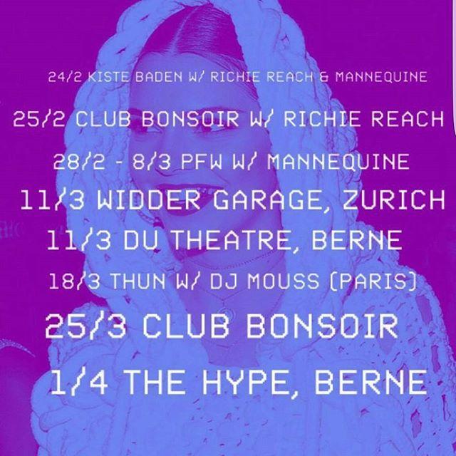 24/2 Club Kiste / Baden  25/2 Club Bonsoir / Bern #switzerland  Ce soir @Jangal Paris #BDHH