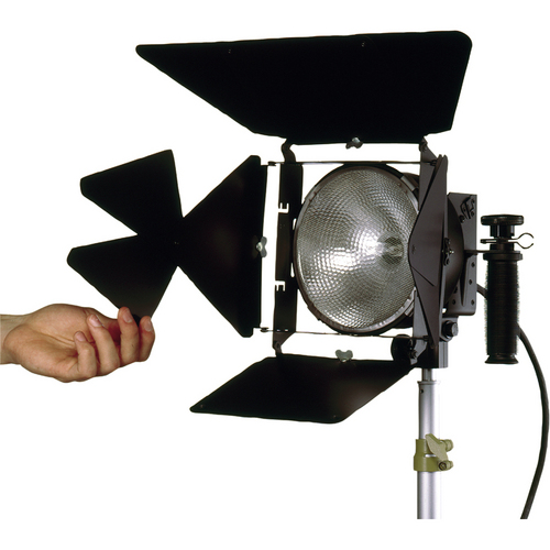 Various lights, stands and grip equipment, including Lowel DP 1kW open face, Mole 650W Fresnel, Mole 300W Fresnel, Mole Biax, LiteRibbon