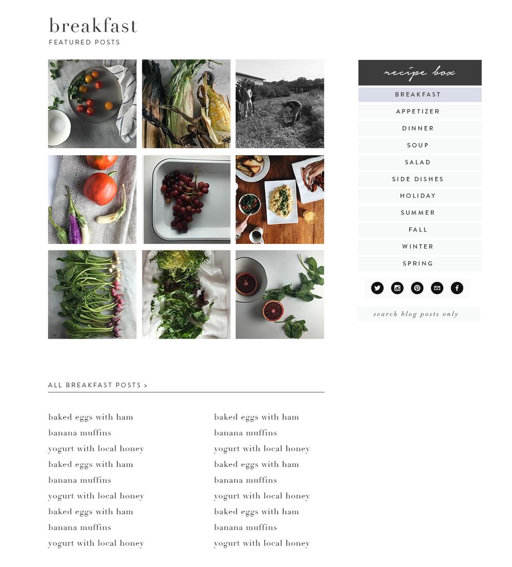 Recipe Index Design for Squarespace