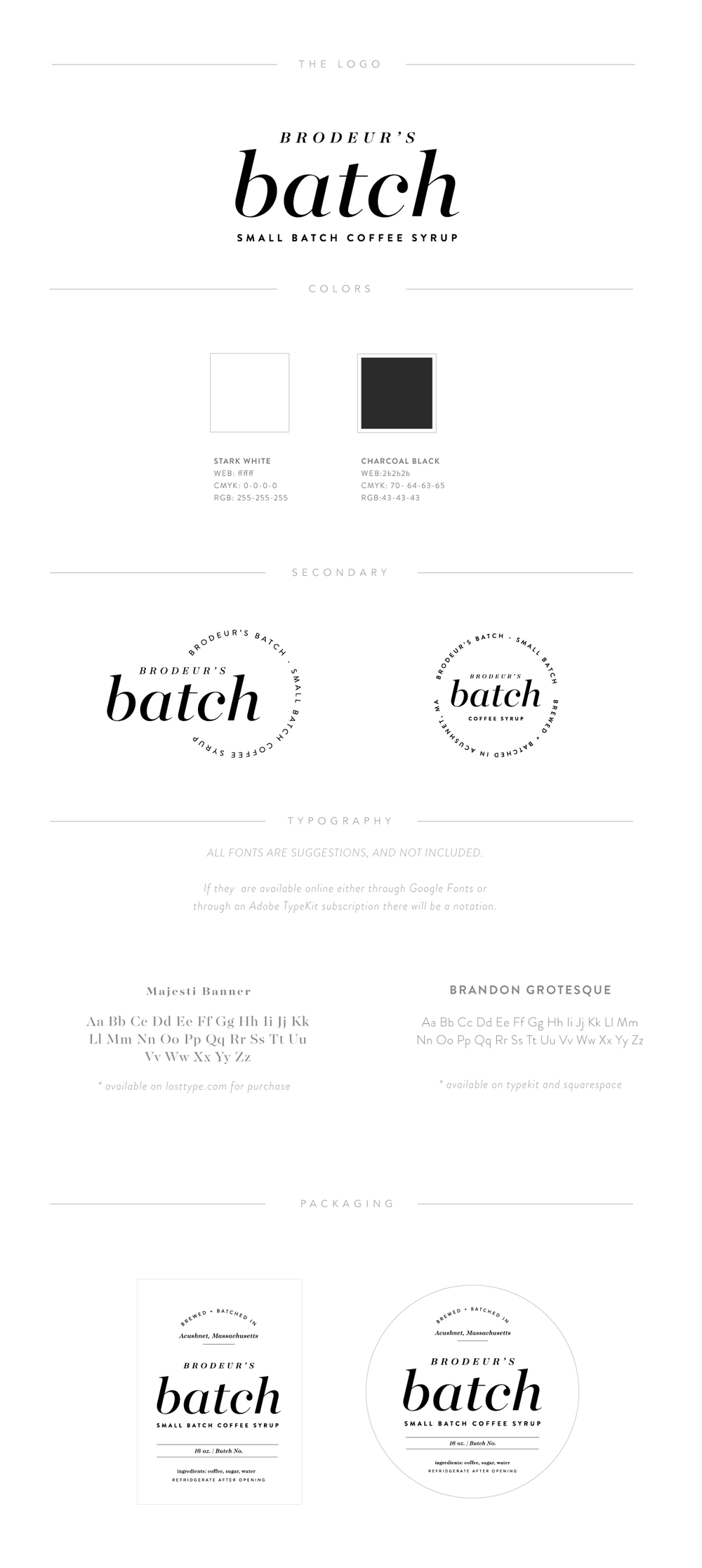 Logo Design + Packaging Design | Brodeurs Batch Brand Board