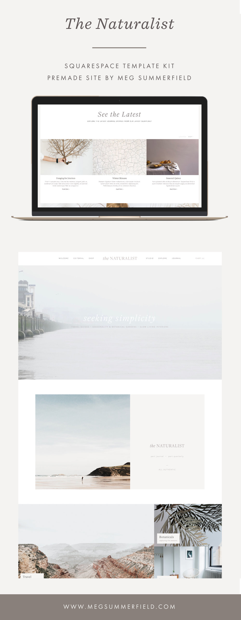 Premade Squarespace Site Kit for Entrepreneurs and Creatives by Meg Summerfield