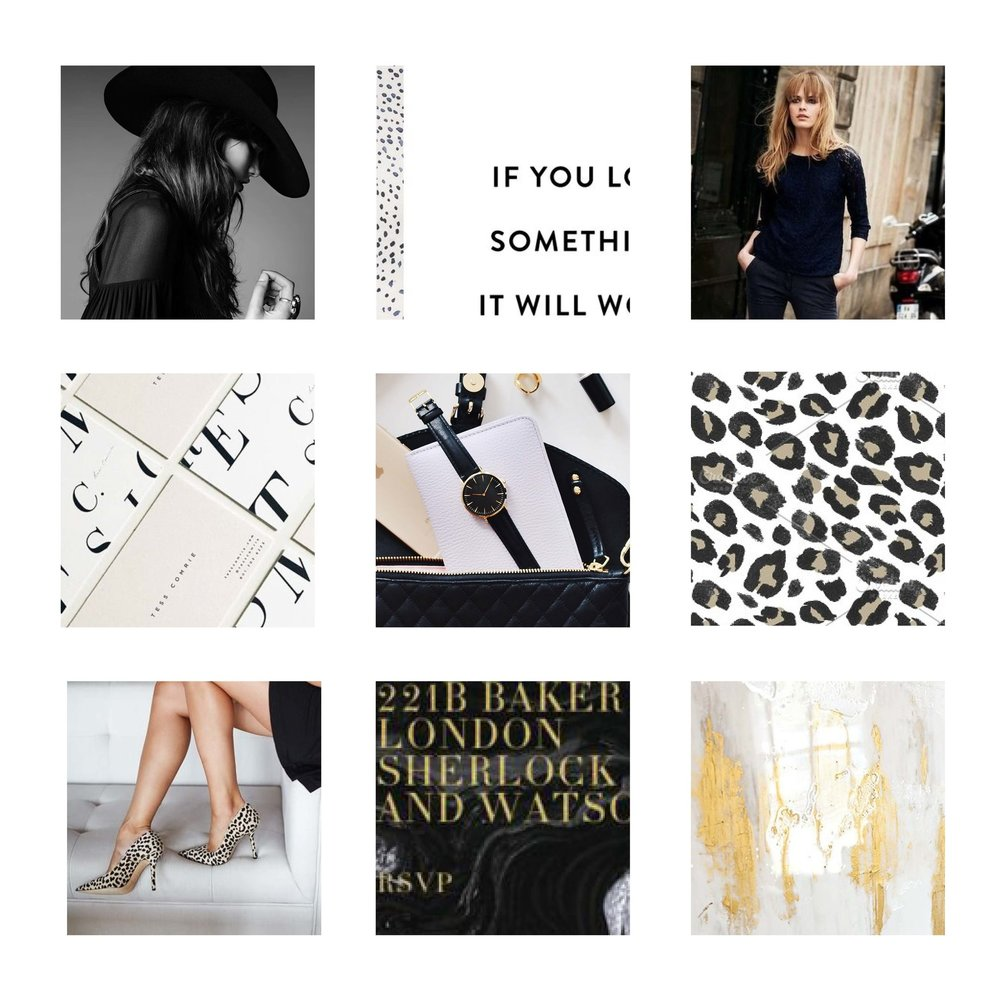 Moodboard for TGStylist - Neutral, textural and metallic accents.