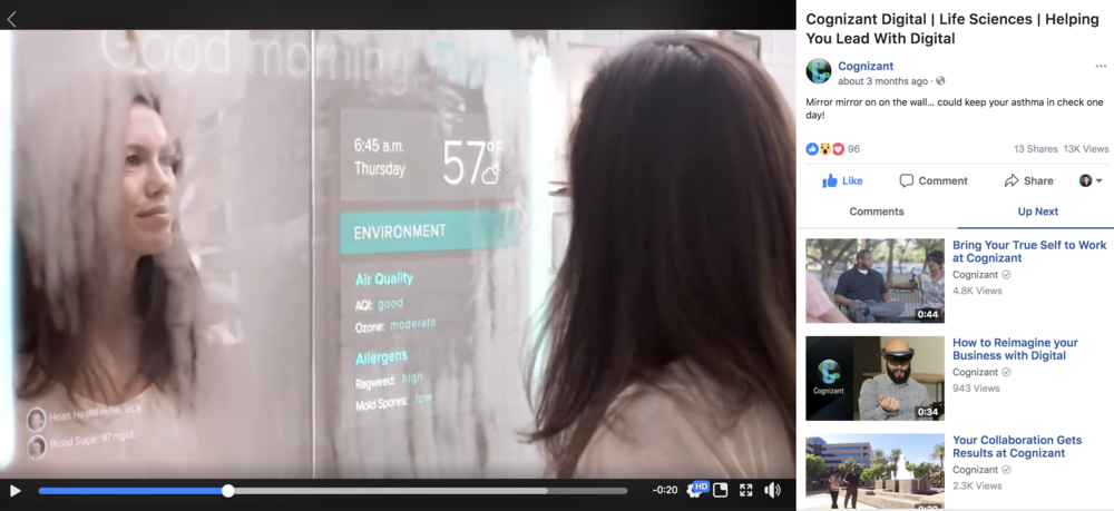"Cognizant Digital ""Smart Mirror""   https://www.facebook.com/Cognizant/videos/10155877689512147/"