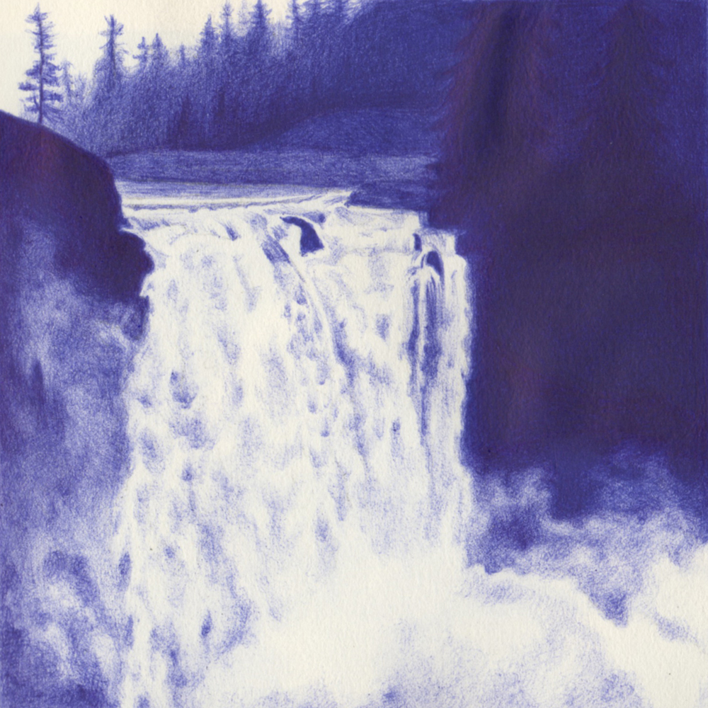 """  Snoqualmie Falls, WA"" 2015, Ball Point Pen"