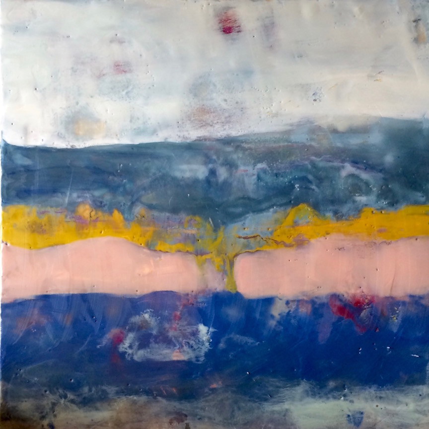 "Escape, 18""x18"" encaustic by Heather Kirtland"