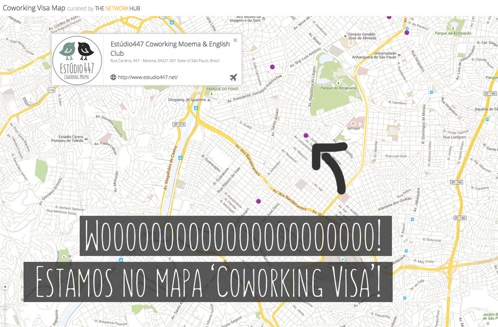 Map Coworking Visa - Estúdio447 Coworking Moema & English Club