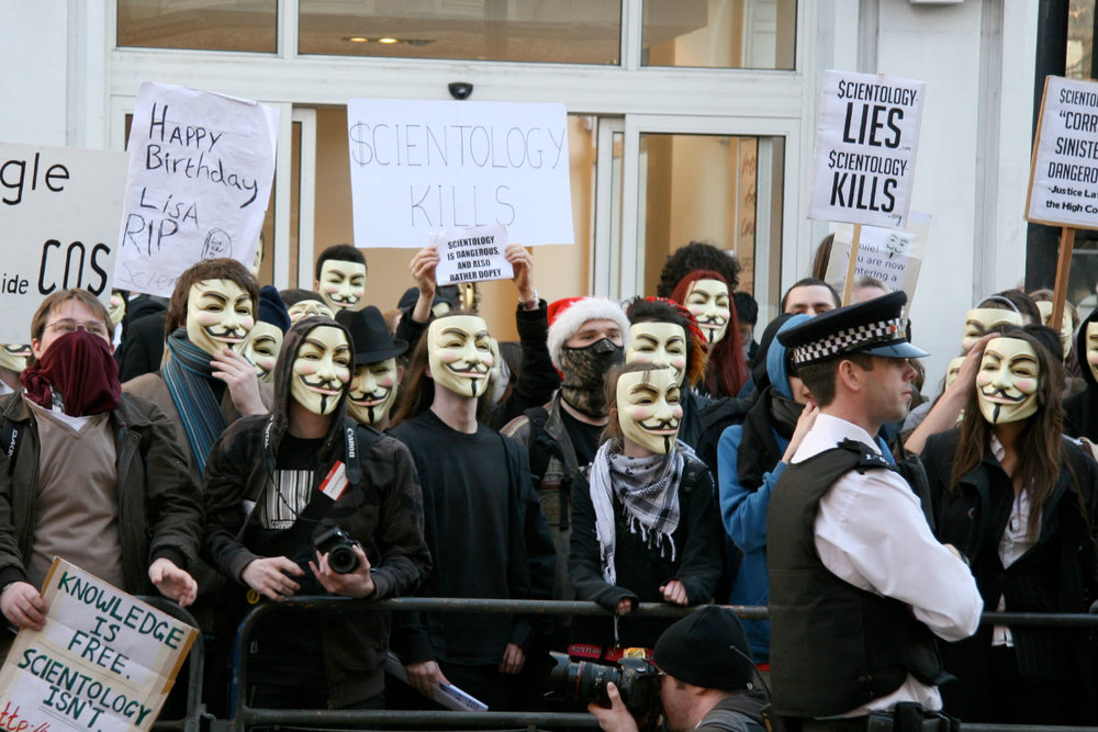 Protesters wearing Guy Fawkes masks from the V for Vendetta film, at February 10, 2008 protest in London