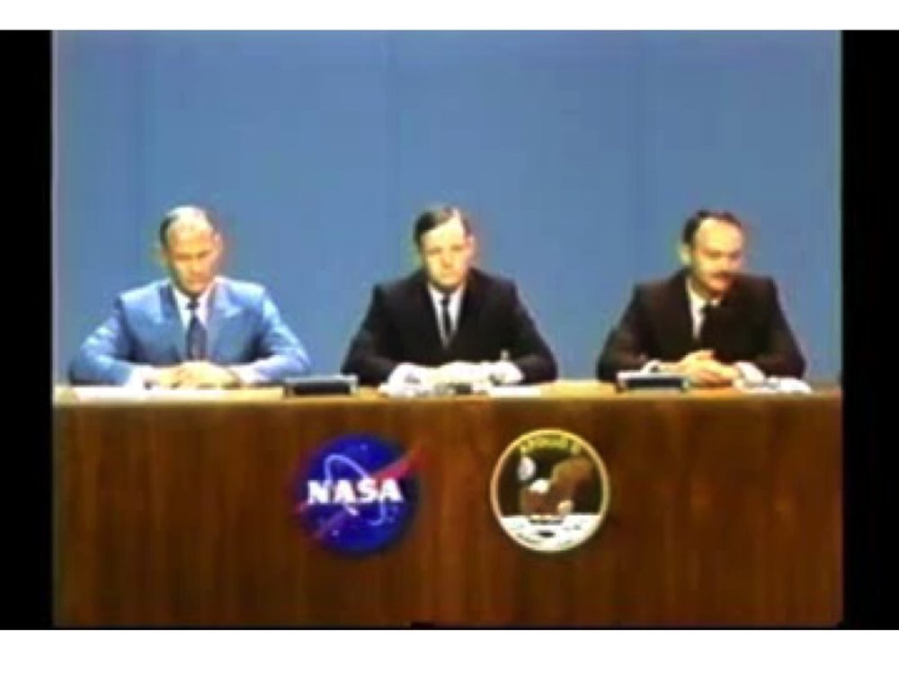 APOLLO 11 ASTRONAUTS AT THEIR FIRST PRESS CONFERENCE