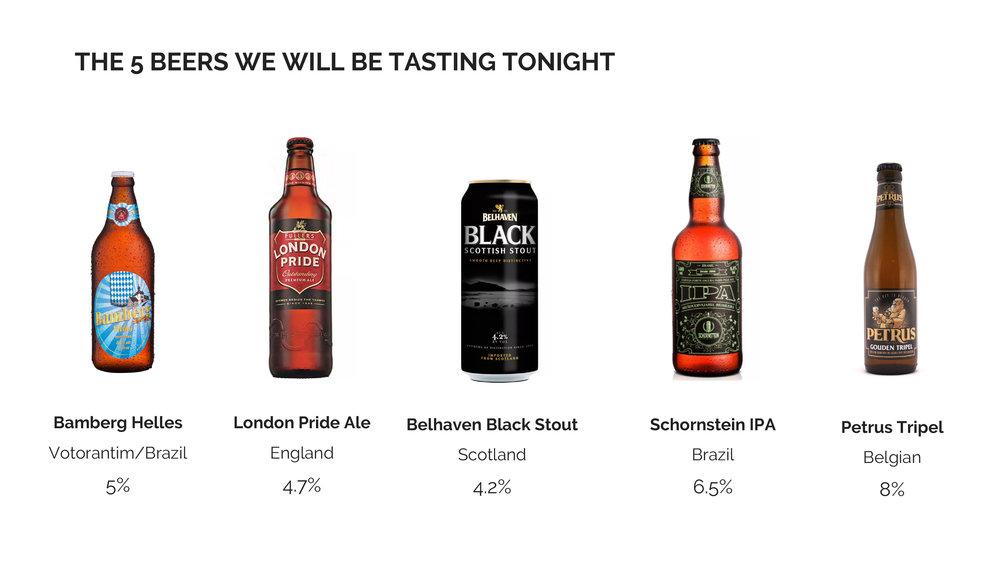 The Beauty of Beer - beers for tasting.jpg