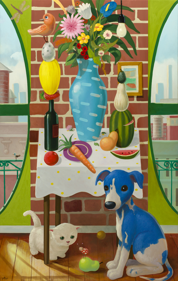 Still Life With Vase And Puppy