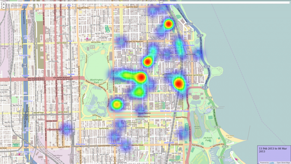 A screenshot from Ben Huynh and Peter Xu's visualization of UCPD incident report data.