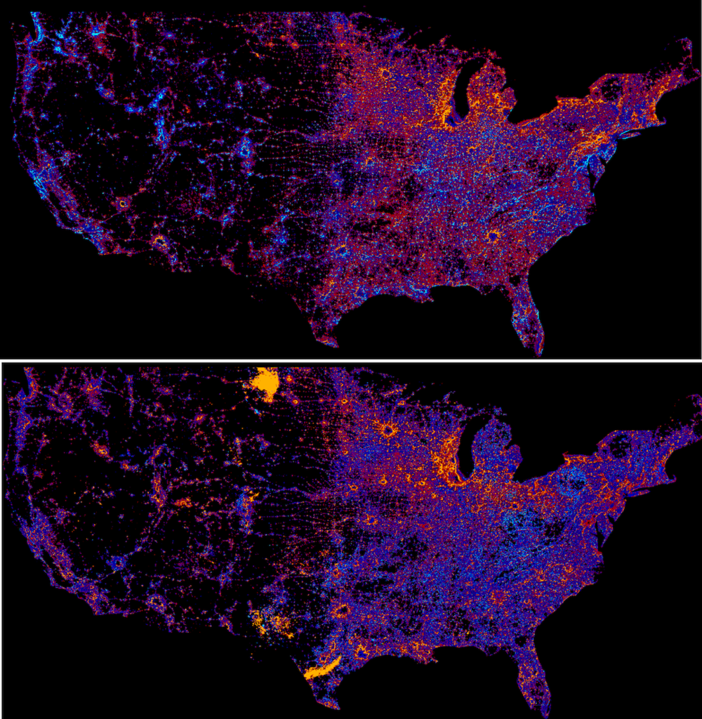 Annual average mean-centered change, ConUS. (top) 1993-2006 period, (bottom) 2007-2013 period. Blue-coded areas correspond to net negative dynamics (decay) and red-colored areas to net positive dynamics (growth).