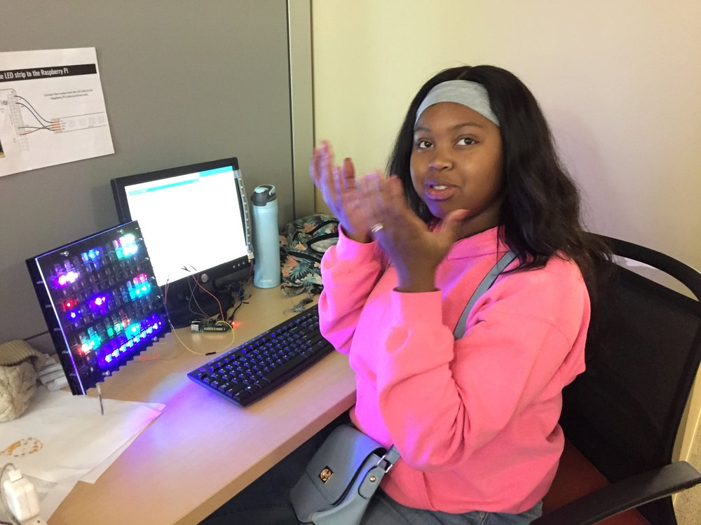 20170808 Summer Student Taija Covey Programming LEDs.JPG