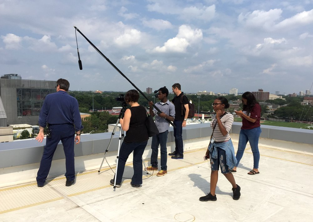 20170803 Summer Students on Eckhart Roof Making Energy Audit Video.JPG