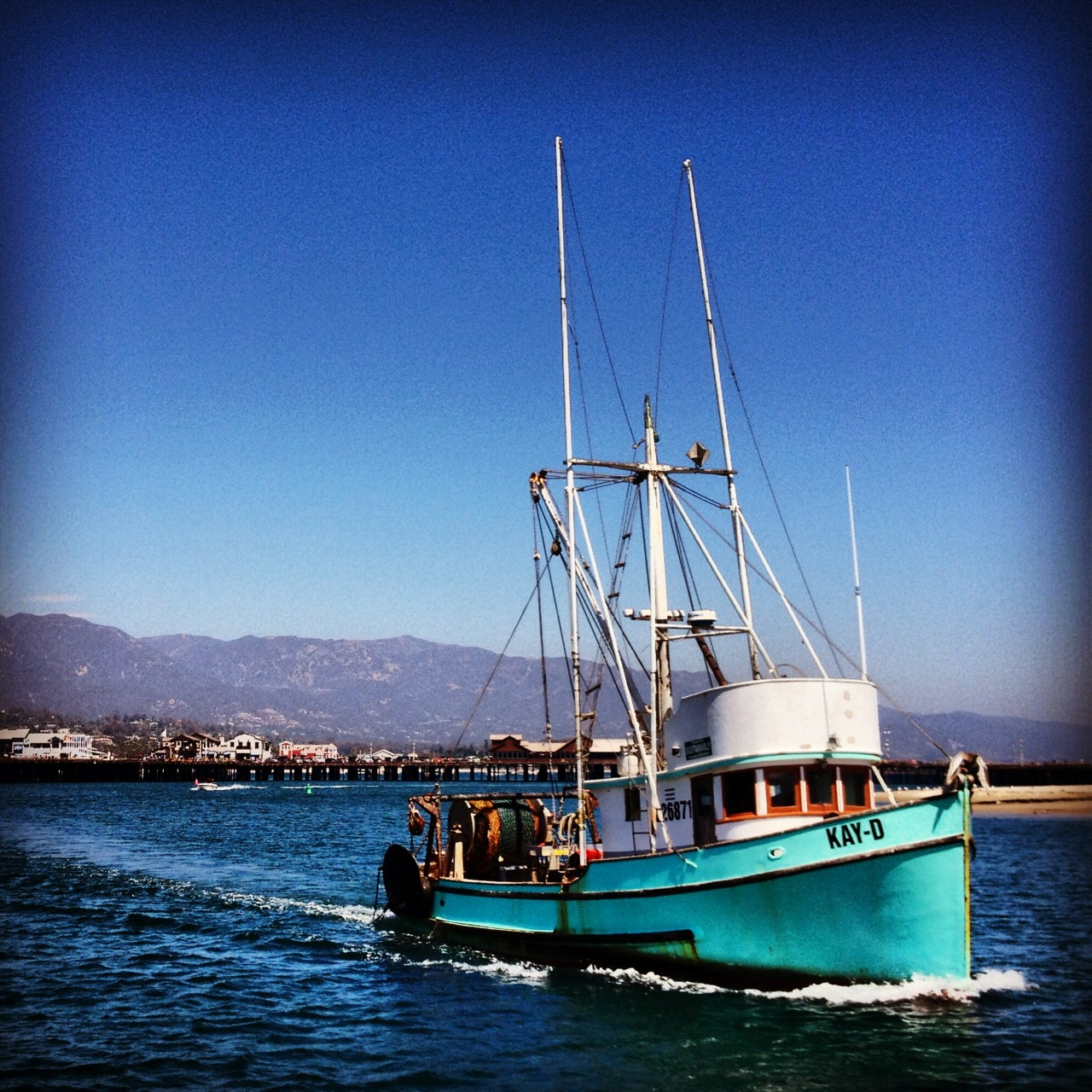 Old fishing boat in the Santa Barbara harbor
