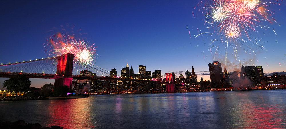 Brooklyn bridge and Fireworks.