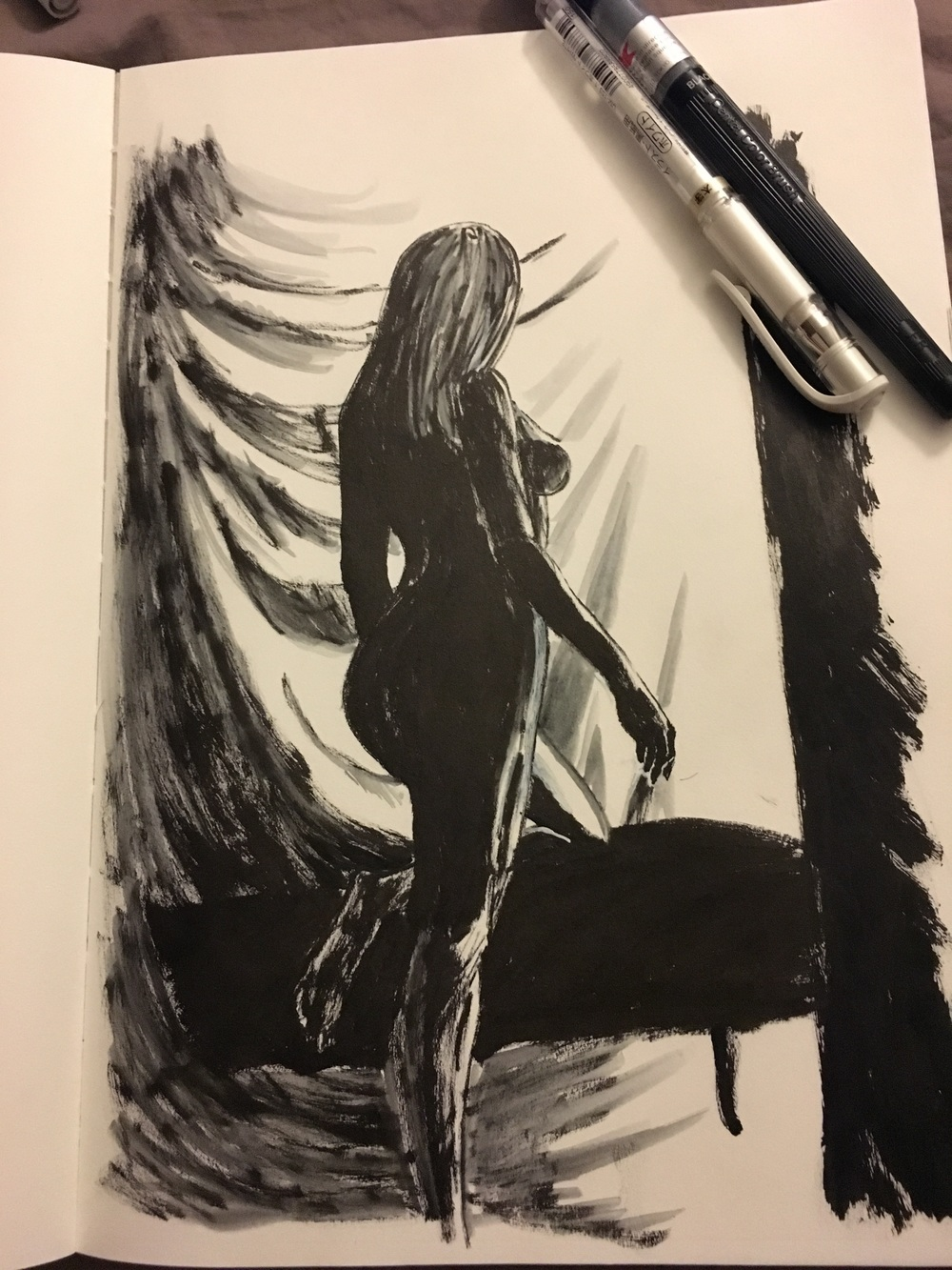 Pentel Brush and white gel pen figure study