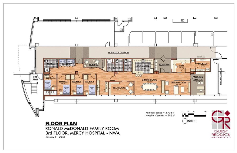 Family room nwa sneak peek ronald mcdonald house for Arkansas house plans