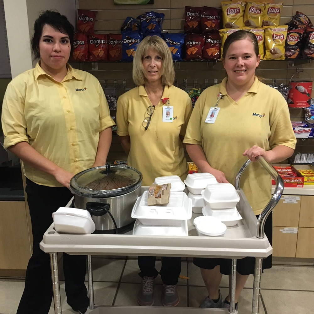 Catherine's Corner Cafe out of Mercy Fort Smith regularly brings by meals to the FSM Family Room! Thank you for keeping our families fed. :)